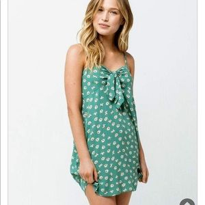 NWT Billabong green floral tie front mini dress L